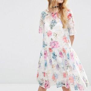 Asos Floral Roses Sheer Organza Dress NEW